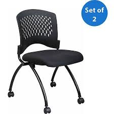 office star deluxe armless folding guest chairs with wheels titanium set of 2 armless office chair wheels