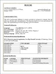 professional resume november 2014 fresher resume format for mca