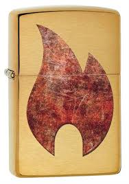 <b>Зажигалка Zippo</b> Rusty <b>Flame с</b> покрытием Brushed Brass, 29878 ...