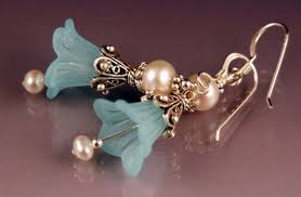 WEDDING BELLS in <b>AQUA</b>, Frosted Flower Lily EARRINGS ...