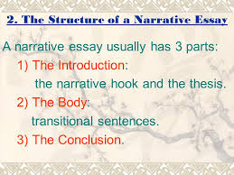 lecture  narration outline  objectives of lecture what is a  the structure of a narrative essay a narrative essay usually has  parts