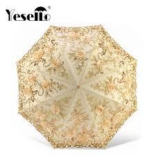 Yesello Lace <b>Flower Folding Umbrellas</b> For Women <b>Folding UV</b> ...