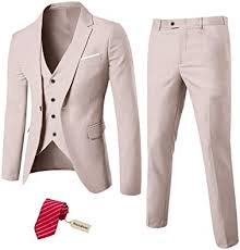 Amazon.com: MY'S Men's 3 Piece Slim Fit Suit Set, One Button Solid ...