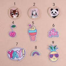 <b>1 PC Cute</b> Panda <b>Cat</b> Rabbit Patches Parches <b>Embroidery</b> Fruit YAY ...