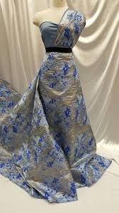 Brocade <b>Silver</b> Royal Blue Baby Blue <b>Floral Flowers</b> Fabric Sold by ...