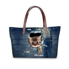 Kitty Jumping out of Denim Cat Print Shoulder <b>Bag</b> | Джинсовая ...