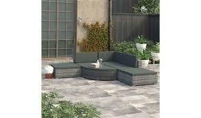 <b>6 Piece Garden Lounge</b> Set with Cushions Poly Rattan Grey ...