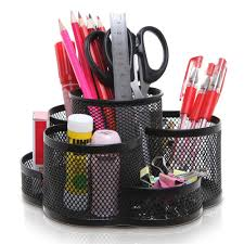7 Compartment Rotating <b>Black Metal Mesh Desktop</b> Office Supplies ...