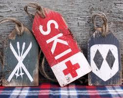 cabin decor lodge sled: ski skiing wood tags rustic distressed ski trail lodge cabin decor ski decor sign set
