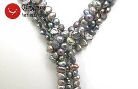Necklace <b>Black</b> 3 Women Long <b>Baroque</b> for 3 <b>Natural Black</b> 4-5mm ...