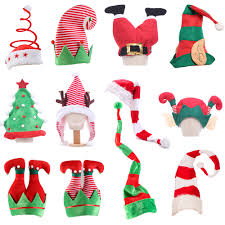 2020 Christmas Hat Plush Elf Santa Hat <b>Cute Stripes</b> Cartoon ...