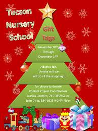 upcoming events tucson nursery school toy drive volunteer calendar christmas gift tag flyer 2015