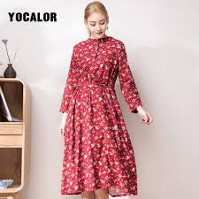 2019 Corduroy Soft Floral Print <b>Women</b> Autumn <b>Summer Dress</b> ...