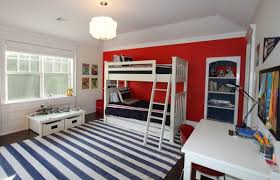 stunning bedroom interior design with white bunk bed along black bedding also white study desk and bedroombreathtaking stunning red black white