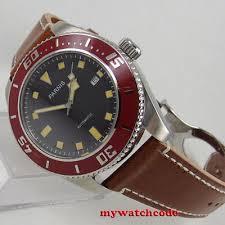 SS <b>43mm PARNIS BLACK dial</b> date Sapphire Glass miyota 8215 ...