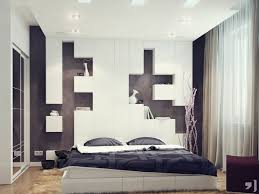 bedroom modern black bedroom featuring impressive white headboard design with display shelves combined with white bed and black pillows and cool lighting amazing white black bedroom
