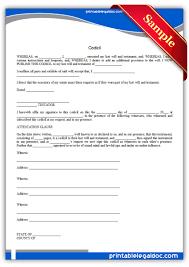 printable codicil sample printable legal forms legal printable codicil sample printable legal forms