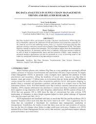 big data analytics in supply chain management trends and related big data analytics in supply chain management trends and related research pdf available