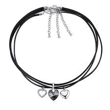 <b>Wholesale High Quality 3</b> In 1 Black Rope Chain Crystal Heart ...