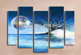 framedstretched abstract blue landscape oil painting handmade modern home office hotel wall art decor decoration free ship new artwork for office walls