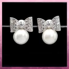 Beautiful Luxury <b>Zircon</b> Pearl <b>Bowknot</b> Stud Earrings