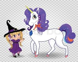Kawaii vector baby witch girl together with beautiful magical <b>unicorn</b> ...