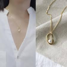 2019 <b>Leouerry 925 Sterling Silver</b> Geometric Pendant Pearl ...