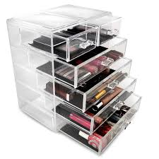 plastic makeup organizer put bathroom: sorbus acrylic cosmetics makeup and jewelry storage case display  large and  small drawers space saving stylish acrylic bathroom