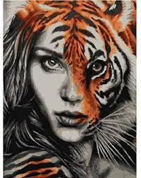 LMTQWC Diamond Painting 5D Diy Lady <b>Tiger</b> Face <b>3D Round</b> ...