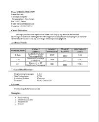 fresher resume with project details fresherresumewithcareerobjectives freshers resume formats