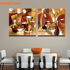 <b>Unframed 2 Panel</b> Handmade Flower Cup Set Abstract Modern Oil ...