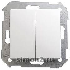 <b>Выключатель двухклавишный проходной</b> Simon 82 Detail (белый)