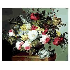 <b>RIHE</b> Blooming <b>Rose</b> Painting By Numbers <b>Flower Vase</b> Oil Painting ...