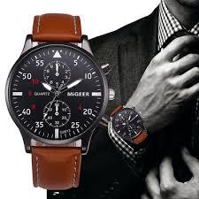 Hot Gescar <b>Mens</b> Business Casual Sport Brown Military Wrist <b>Watch</b> ...