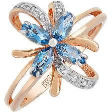 <b>Кольцо</b> Цветокс <b>4 топазами</b>, 10 фианитами из красного золота ...