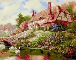cabin decor lodge sled: swan lake lodge landscape cuadros decor diy oli painting by number on canvas digital painting coloring