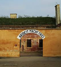 ing the terez iacute n concentation camp ghetto near prague the sign at the entrance to tereziacuten prison camp near prague arbeit macht