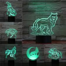 <b>Creative Wolf</b> 3D Light Touch Remote Lamp <b>Abstract</b> Acrylic ...