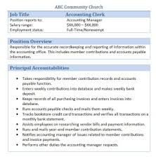 free downloadable sample church job descriptionsaccounting clerk