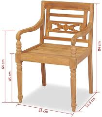 Outdoor Wooden <b>Chairs Batavia</b> Garden <b>Chairs 2 pcs</b> Teak 55x51 ...