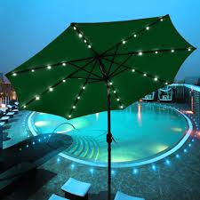 garden outdoor umbrella lights surrounded by soft landscape lighting for a romantic mood effect on th