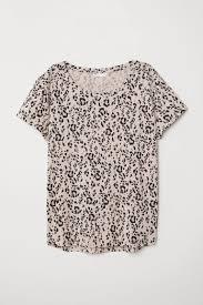 Cotton <b>T</b>-shirt - Light beige/<b>leopard print</b> - Ladies | H&M US