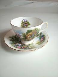Vintage Royal Vale cottage <b>bone</b> china teacup saucer <b>plate 2 pcs</b> ...