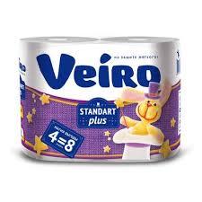 <b>Бумага</b> туалетная <b>Veiro</b> Standert Plus 2-слойная белая (4 рулона ...
