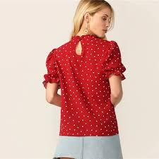 Frilled Neck Puff Sleeve Confetti Heart Print Top Red Stand Collar ...