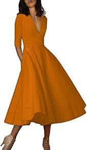 YMING <b>Women's Elegant</b> Cocktail Maxi <b>Dress</b> Deep V Neck 3/4 ...