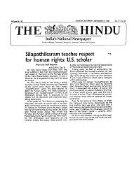 storytelling institute silappathikaram teaches respect for human rights us scholar