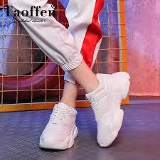 Taoffen <b>Women'S Flats</b> Sneakers Fashion White <b>Vulcanized Shoes</b> ...