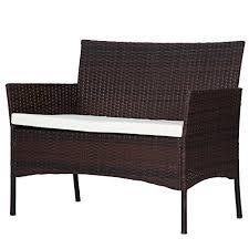 brown wicker outdoor furniture dresses: merax  pc outdoor garden rattan patio furniture set cushioned seat wicker sofa brown