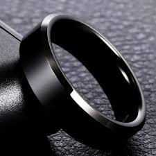 316L <b>High Quality Men Black</b> Titanium Stainless Ring Lover Couple ...